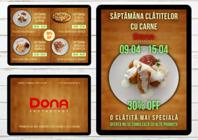 Dona Restaurant (Flyer+poster print design, food photography)