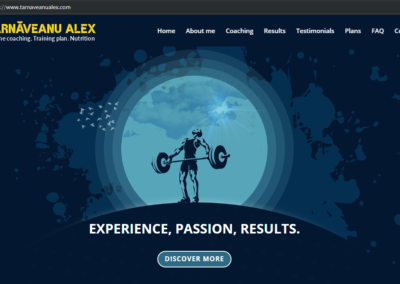 Târnăveanu Alex - Personal Trainer (website creation, content writing, payment settings)