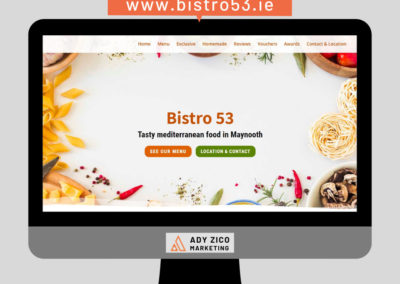 Bistro 53 Maynooth, Ireland (website creation, content writing, copywriting, photo edit)