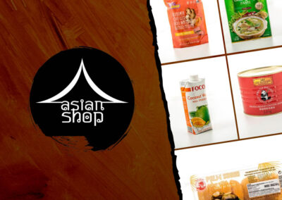 Asian Shop by Thai Kitchen (logo design, Facebook page creation, content writing, photo design, print design, branding, website page)